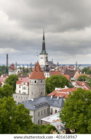 City from an observation deck. Tallinn. Estonia.