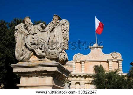 City Gate and Maltese Flag - stock photo