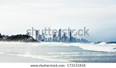 City Gold Coast, Queensland, Australia. The city is well-known as luxury resort in Australia - stock photo