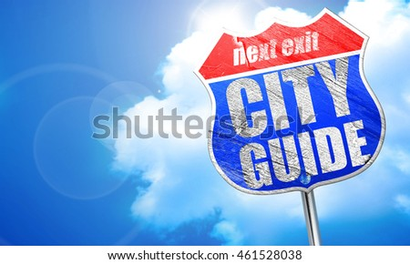 city guide, 3D rendering, blue street sign