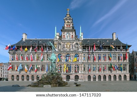 City Hall and Brabo fountain on the Great Market Square of Antwerp, Belgium - stock photo