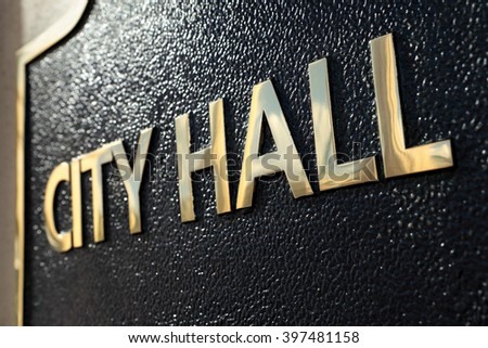 City Hall building entrance sign close up - stock photo