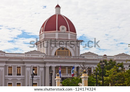 City Hall in old town Cienfuegos, Cuba - stock photo