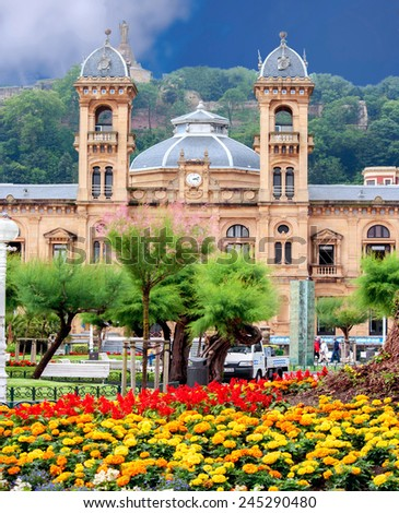 City Hall in San Sebastian (Donostia), Spain. It was built in 1897 and served as the Grand Casino of San Sebastian.  - stock photo