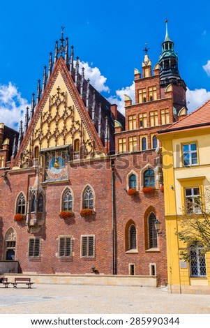 City Hall in Wroclaw, Poland. Wroclaw old and a very beautuful city in Poland - stock photo