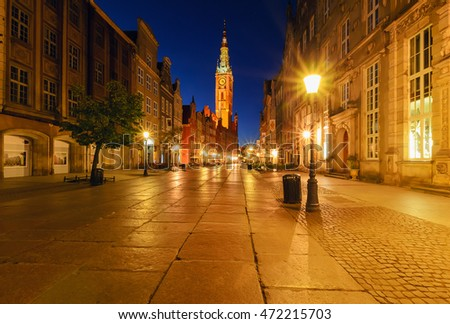 City hall of Gdansk at night, Poland, Europe.