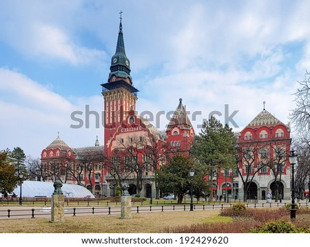 City Hall of Subotica in Hungarian Art Nouveau style, Serbia - stock photo
