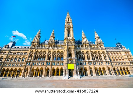City Hall (Rathaus) against blue sky in Vienna, Austria  - stock photo