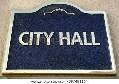 City Hall sign close up front view - stock photo