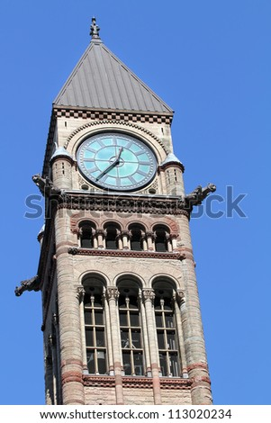 CIty Hall Tower Clock. Toronto, Ontario - stock photo