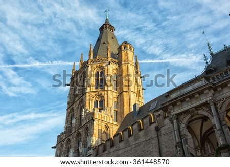 City Hall tower  in Cologne, Germany - stock photo