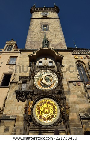 City Hall Tower with famous astronomical clock in Prague, Czechia - stock photo