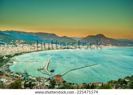 city harbor of Alanya at dawn, Antalya, Turkey - stock photo