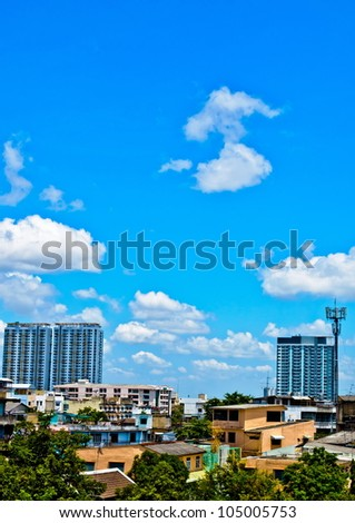 City high-rise buildings and Sky