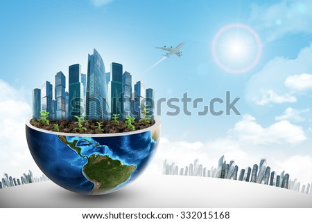 City in half earth on blue sky background. Elements of this image furnished by NASA