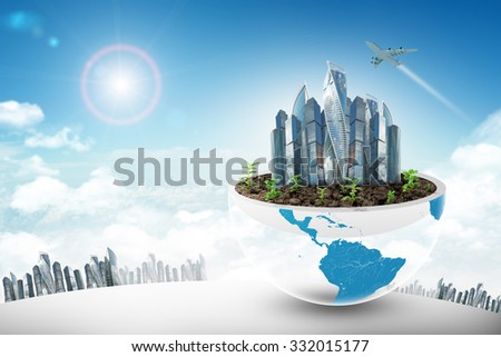 City in half planet on blue sky background