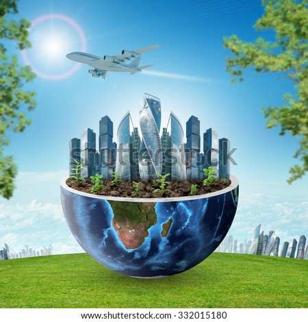 City in half planet on blue sky background. Elements of this image furnished by NASA