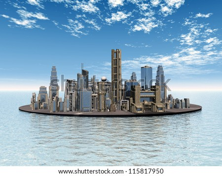 City in the Sea Computer generated 3D illustration - stock photo