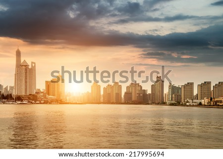 City in the setting sun - stock photo