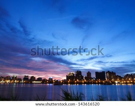 city in twilight - stock photo