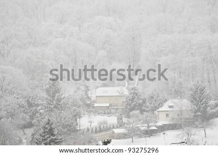 City in winter - Prague, Czech Republic - stock photo