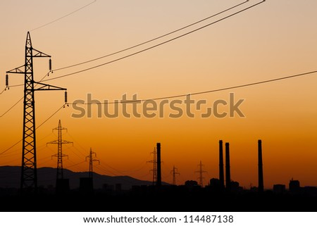 city industrial sunset background