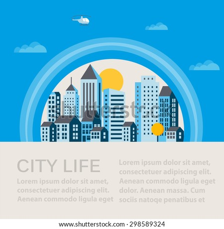 City infographics in a flat style of the houses and buildings