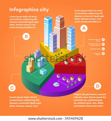 City infographics in isometric with town houses, skyscrapers, town houses and streets and trees. Isometric city in graphs and charts. - stock photo