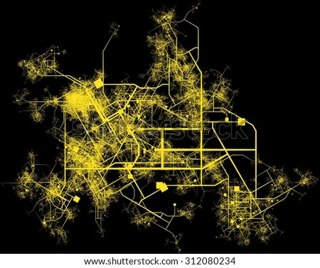 City Infrastructure Planning with Roads and Buildings - stock photo