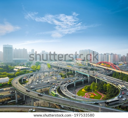 city interchange in the early morning rush hour  shanghai, China  - stock photo
