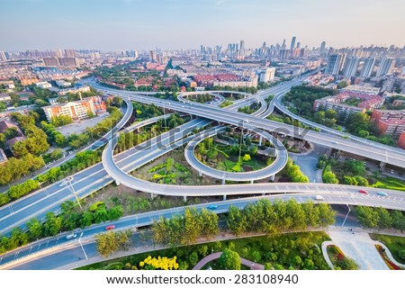 city interchange in tianjin , high angle view - stock photo