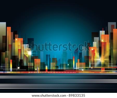 City Landscape at night - stock photo