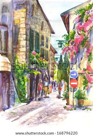 City Landscape.Blooming bougainvillea framing the wall of the house .Watercolor illustration. - stock photo