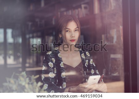 City lifestyle,business asian woman using smartphone,business lifestyle concept.