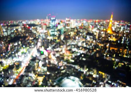 City light blur bokeh,Tokyo Tower in Tokyo - stock photo