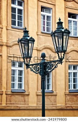 City light in Prague, Czech republic - stock photo