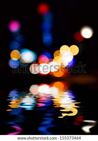 City lights and reflections, colorful. - stock photo