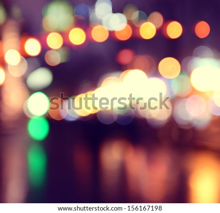 city lights blurred bokeh background - stock photo