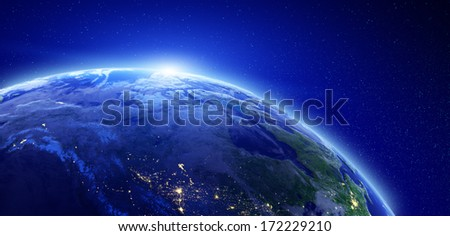 City lights - Canada. Elements of this image furnished by NASA - stock photo