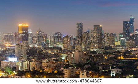 City lights night view, cityscape downtown at night
