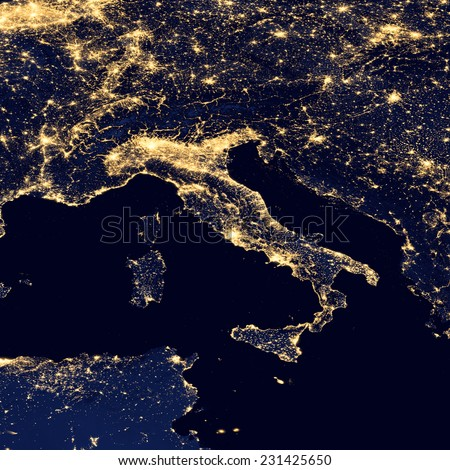 City lights Of Italy ,Elements of this image are furnished by NASA - stock photo