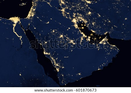 City lights on world map arabian stock photo royalty free city lights on world map arabian peninsula elements of this image are furnished by gumiabroncs