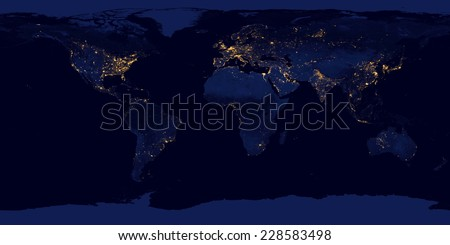 City lights on world map,Elements of this image are furnished by NASA - stock photo