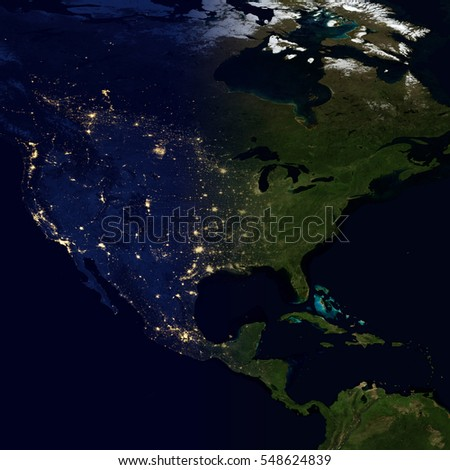 City lights on world map north stock photo download now 548624839 city lights on world map north america elements of this image are furnished by gumiabroncs Images
