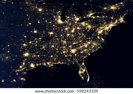 City lights on world map north stock photo royalty free 598243109 city lights on world map north america elements of this image are furnished by gumiabroncs Gallery