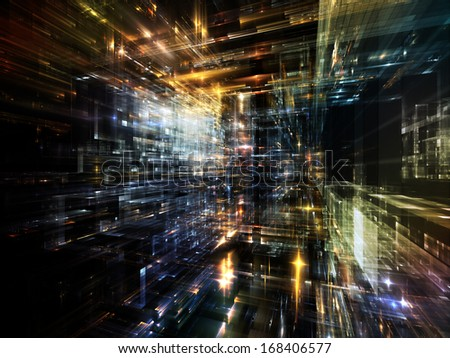 City Lights series. Abstract design made of technological fractal textures on the subject of science, technology, design and imagination