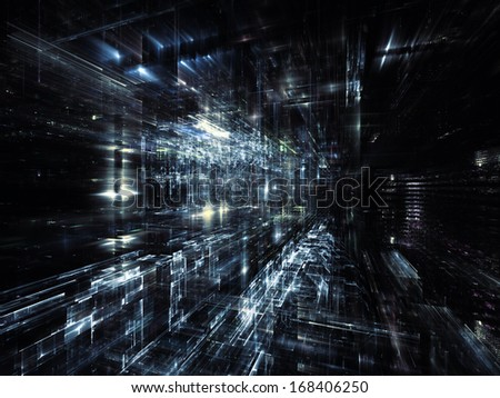 City Lights series. Backdrop of technological fractal textures on the subject of science, technology, design and imagination - stock photo