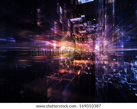 City Lights series. Composition of technological fractal textures on the subject of science, technology, design and imagination