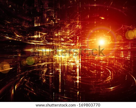 City Lights series. Creative arrangement of technological fractal textures as a concept metaphor on subject of science, technology, design and imagination - stock photo