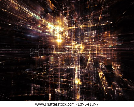 City Lights series. Design made of technological fractal textures to serve as backdrop for projects related to science, technology, design and imagination